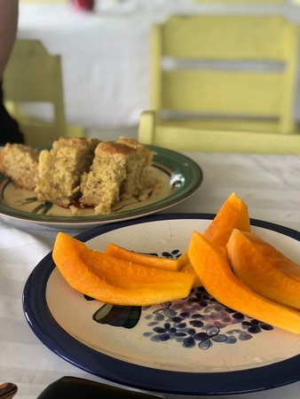 Savai'i, Samoa: Banana Cake and fruit for afternoon snack provided for free by the hosts.