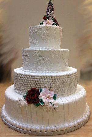 White wedding cake with flower tower westhampton pastry shop white wedding cake with flower tower westhampton pastry shop richmond va mightylinksfo