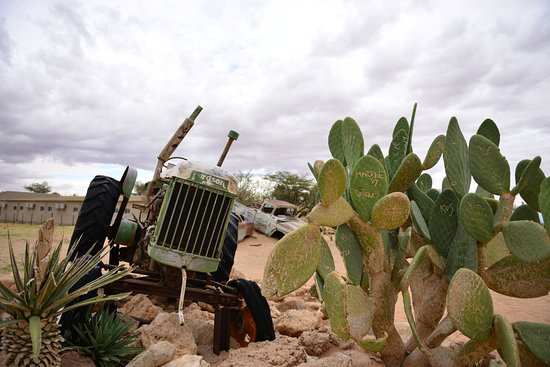 Solitaire, Namibia: Tractor and cactus outside the bakery