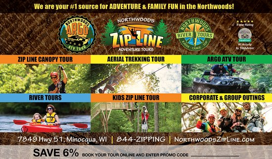 Northwoods Zip Line, Aerial Trekking, Argo ATV, and Kayak River Tours: We are your #1 source for Adventure & Family Fun.