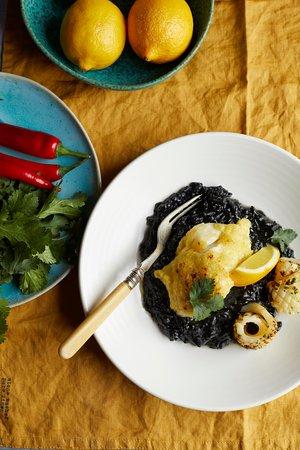 Alderley Edge, UK: Cod with preserved lemon & squid ink risotto