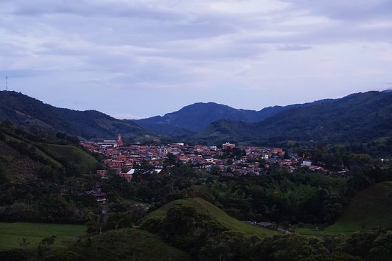 View of San Carlos, Colombia at dusk
