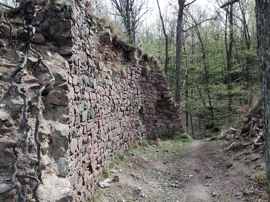 Nasavrky, Czech Republic: The biggest wall of Stradov castle ruins.