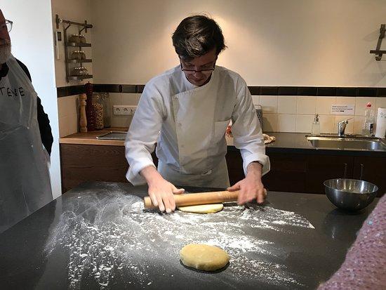 Chef nigel preparing the pate brisee for our tarte tatin - La cuisine cooking classes ...