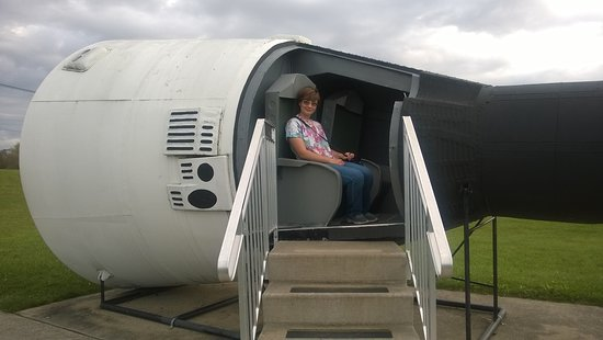 Wapakoneta, OH: Madie posing in one of the spacecraft replicas located outside the museum.