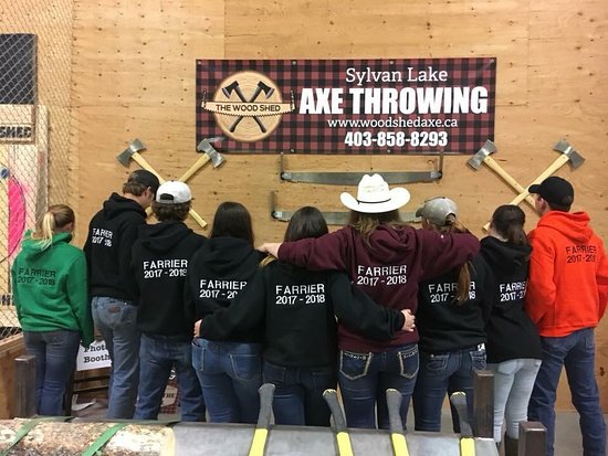 The Wood Shed - Axe Throwing: Olds College graduating farrier class
