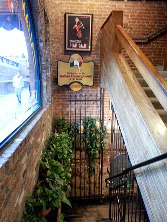 The Italian Underground Restaurant: stairs leading to good time