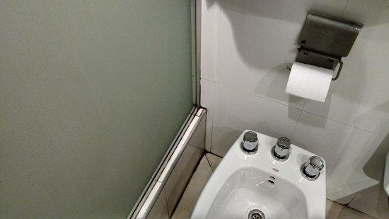 Montanas Azules Apart Hotel: Se observa los hongos, entre el piso, azulejos y mampara