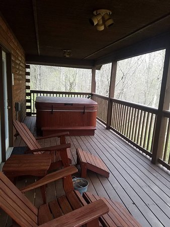 The back porch with a nice wooded view and wonderful hot tub