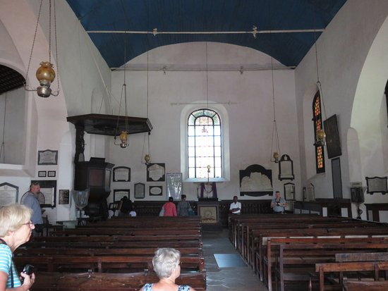 Dutch Reformed Church: The old wood furniture still survives