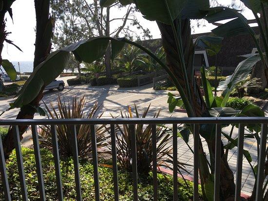 Del Mar, كاليفورنيا: car park view with ocean way over to the left. Room 123