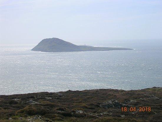 Aberdaron, UK: View of Bardsey Island from Mynydd Mawr