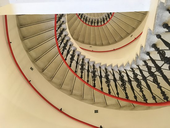 Брно, Чехия: stairs with a red handrail