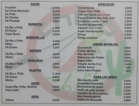 Palmares, Costa Rica: menu