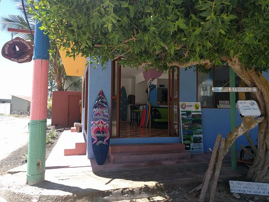 Puerto Villamil, Ecuador: Our beachy island office with recycled materials for decoration
