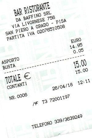 San Piero a Grado, Italia: scontrino