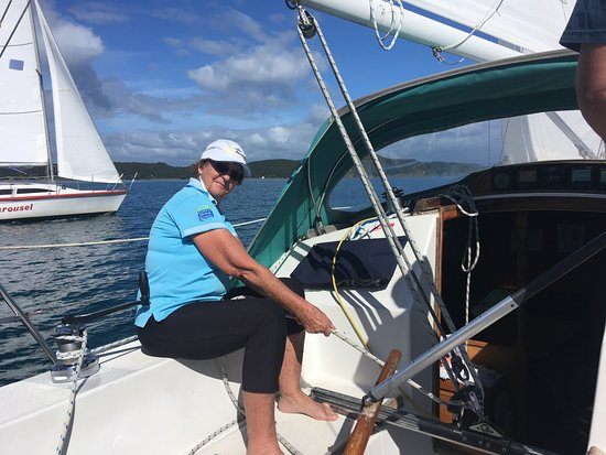 Opua, New Zealand: Sailing aboard Liaison (R31) with Carousel (N30) in the background
