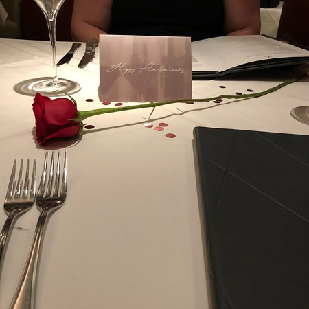 Fleming's Prime Steakhouse & Wine Bar: For our anniversary, they set the table up before we got there. Very nice!