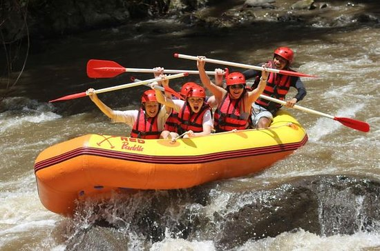 Red paddle river rafting at ayung...