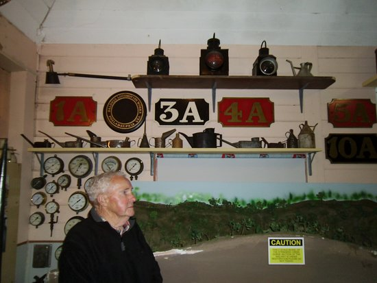 Jim Rae,fireman of the last train from Erica inspects the museum