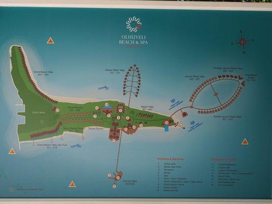 Island Map Picture Of Olhuveli Beach Spa Maldives