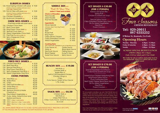 Four Seasons Chinese Restaurant: Take Away Menu