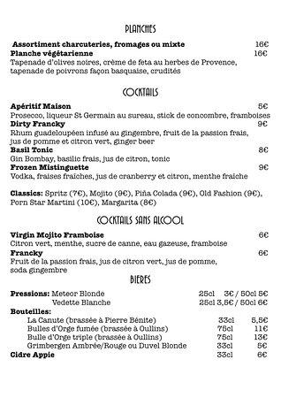 Oullins, فرنسا: carte des cocktails et planches