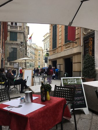 View of Via Garibaldi from the cafe.