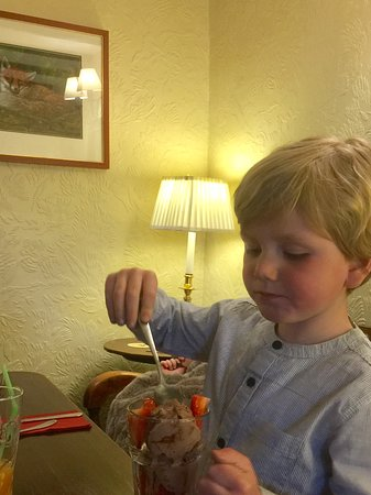 Uldale, UK: My grandson tucking in to his very own chocolate ice cream and fresh strawberries.
