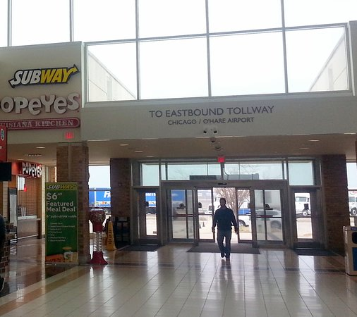 sign above Subway at the Belvidere Oasis eastbound entrance from parking lot