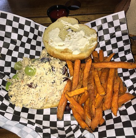 Apple Valley Cafe: Chicken Salad Croissant Sandwich & Sweet Potato Fries