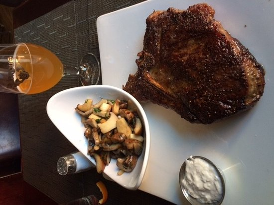 Luxe Bistro: T-Bone & Mushroom sauted on the side