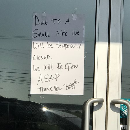 Mc Kenzie, TN: How sad. We were so excited to eat here after reading the reviews.