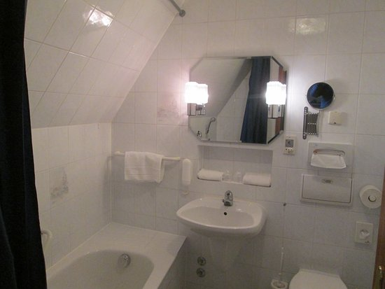 Hotel Blauer Hecht: Badewanne, Waschbecken, WC
