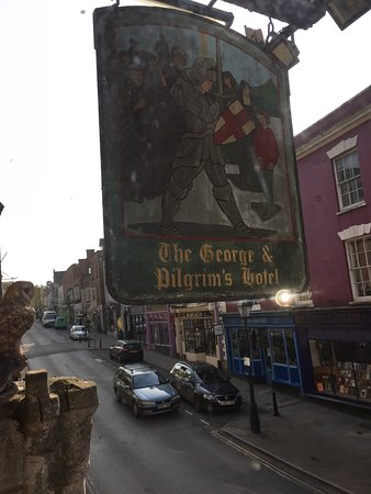 George and Pilgrims Hotel: The hotel sign from room 3 window