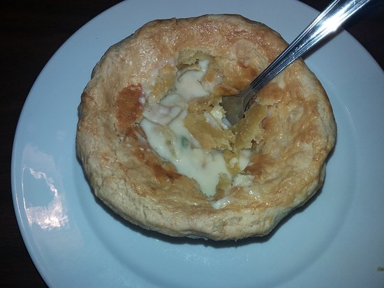 Weirton, WV: Chicken pot pie cut into