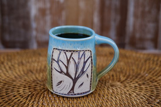 The best way to have our coffee is in a mug from one of the many potters in Door County!