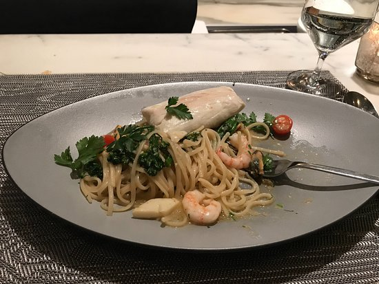 The Sutton Place Hotel Vancouver : The sublime seafood linguine (with an extra fillet that I requested) seafood prepared sous vide