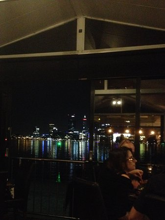 The Boatshed Restaurant: View of Perth skyline from interior of restaurant