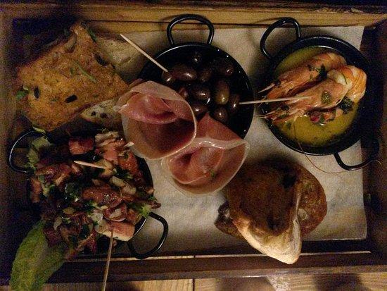 Barton, UK: Octopus, tiger prawns, presunto and olives morcels