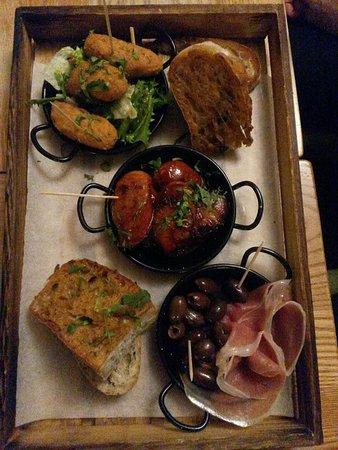 Barton, UK: Fried codfish cakes , grilled chorizo, presunto and olives morcels
