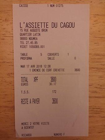 L'Assiette du Cagou: L'addition