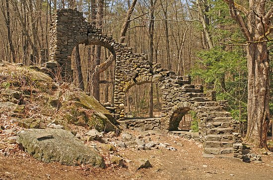 West Chesterfield, NH: Remains of the curved stone staircase to the former second floor porch.