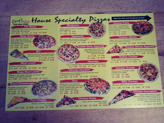 Wickenburg, AZ: Menu back side