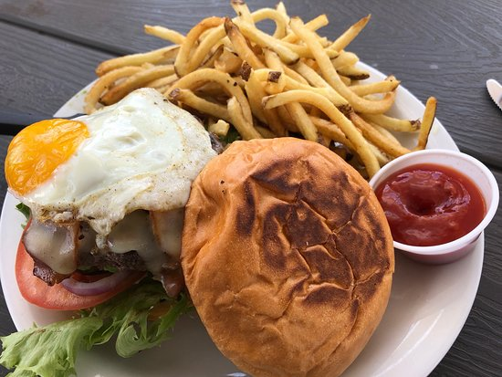 The Point Grill: Sunrise burger with fries