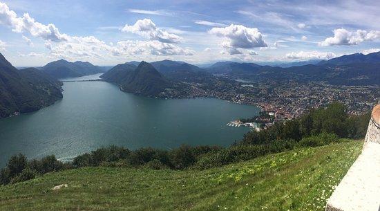 Monte Bre: Vista su Lugano, Melide, San Salvatore e il ponte diga