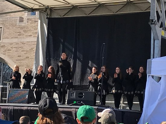University of Notre Dame: Irish Step Dancers at the unveiling of the 2018 Student T-Shirt