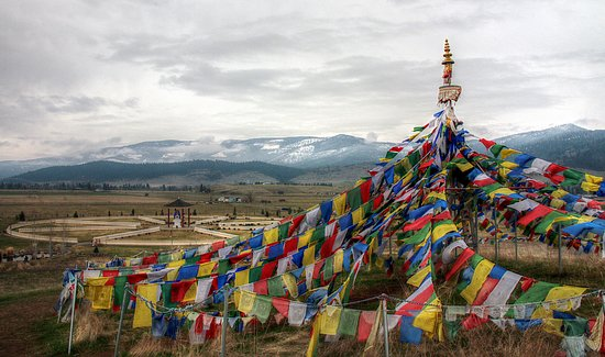 Arlee, มอนแทนา: Prayer flags on the hill above the main site.
