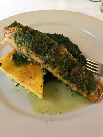 Little River, CA: Salmon with Polenta and spinach