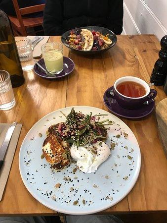 Gembrook, Australia: Brunch, Spencers Store. Tumeric latte and leaf EB tea, granola, a beetroot salad eggs